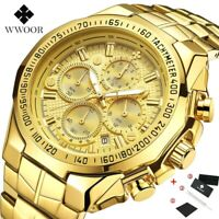 2021 WWOOR Fashion Watches Men Top Brand Luxury Black and Gold Chronograph Man