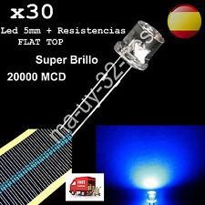 30 Diodos Led  FlatTop 5mm luz Azul Blue - Alta Calidad + Resistencias - Arduino