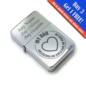 Personalised Engraved Steel Fathers Day Lighter with My Dad - My Rock design