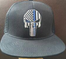 87944e96794 USA Blue Line Punisher Flag Baseball Cap Black Flat Bill Mesh Back  Adjustable