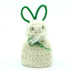 Handmade Easter Decoration Knit Bunny Rabbit Egg Cover w/ Green Pipecleaner Ears