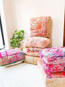 Moroccan Kilim Pillow, Outdoor Morocco Pouf, Floor Vintage Moroccan Ottoman