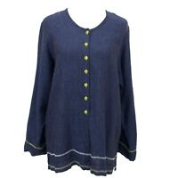 Flax Linen Button Down Tunic Top Shirt Size Small Lagenlook Blue Chartreuse