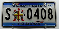 """USA Nummernschild Indianer Oklahoma """"SEMINOLE NATION"""" mit Wappen. 11536."""
