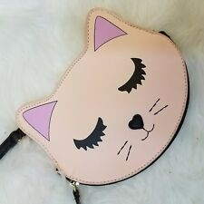 Luv Betsey Johnson Wristlet Cat Purse Wallet Cosmetic Bag Graphic Cat Pet Pink