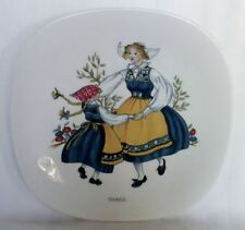 "7-1/2""  Plate Sverige Rorstrand Porcelain Swede Sweden Swedish National Costume"