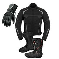 Motorcycle Cordura Men Coat Jacket Cowhide Leather Gloves High Ankle Shoes Boots