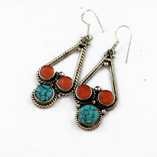 Handmade Ethnic Tibet Nepal Er1105 Turquoise Coral Earring Tibetan Nepalese