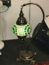 GREEN MOSAIC LAMP WITH BRONZE STAND