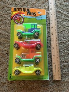 Vintage 1970's Larami Scale Model Plastic Antique Toy Cars in Package, Hong Kong