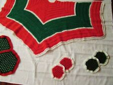 "Lot of 13 Vintage Hand Crochet Lg Xmas Tree Skirt 66"" + 12 Crocheted Knit Doily"