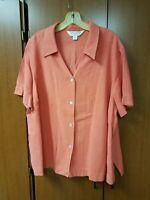 Ladies Burnt Orange Casual Corner Annex 2x Short Sleeve Button-front Blouse