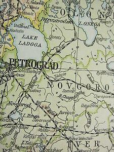 1919 LARGE MAP ~ RUSSIA ~ FINLAND ESTONIA PETROGRAD POLAND LITHUANIA ARMENIA