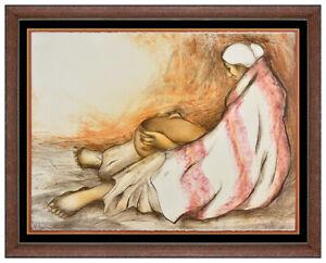 RC Gorman Original Color Lithograph Hand Signed Native American Woman Bowl Art