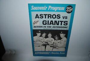 1969 Houston Astros program, vs San Francisco Giants, UNSCORED, NICE