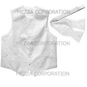 New Men's Vesuvio Napoli Paisley Tuxedo Vest Self-tie Bowtie prom party White