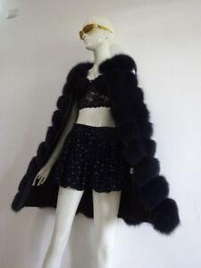 Off-season Sales Real Fox Fur Vest Waistcoat Gilet Jacket Coats Deep Blue L85cm