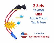 2 Set MINI Add-A-Circuit Fuse Tap Holder 16 AWG Gauge Car Auto Truck +15 Amp NEW
