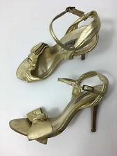 WOMENS DUNE METALLIC GOLD LEATHER ANKLE STRAP HIGH HEEL SANDALS SHOES UK 3 EU 36