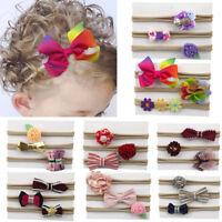 3Pcs Kids Elastic Floral Headband Hair Girls baby Bowknot Nylon Hairband Set
