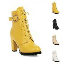 Women Solid Winter Warm Block Heel Riding Ankle Boots Round Toe Pumps