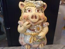"Vintage Chalkware Piggy Bank Rare Huge 29"" Round"
