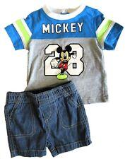 Disney Baby Mickey Mouse Boys 3 Months Shirt Jean Shorts Set Blue Gray