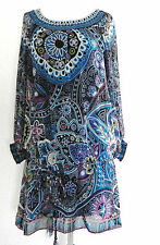 New Ice Tunic Dress Size S(Loose fit) Multi-Color Chiffon Belted Boat neck