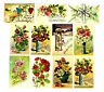 11 ANTIQUE EMBOSSED HAPPY BIRTHDAY POSTCARDS ~ WITH GLITTER ~ FLORAL