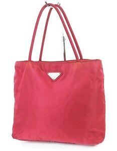Authentic PRADA Red Nylon Tote Hand Bag Purse #38240