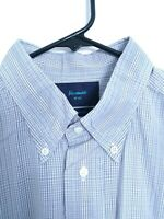 Faconnable Mens Large Blue White Purple Plaid Button Up Long Sleeve Dress Shirt