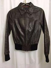 Leather Jacket Women Coat Motorcycle Size S Oakwood Brown Distressed Zipper