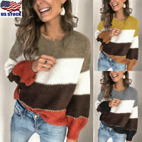 Womens Knitted Sweater Tops Blouse Ladies Casual Long Sleeve Pullover Jumper US