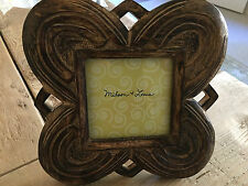 "Hand carved wood picture frame lotus design 8"" x 8"" FREE SHIPPING"