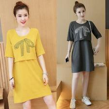 Nursing Breastfeeding Dress Maternity Long Tunic Cotton Cute Comfy 8 10 12 14 16