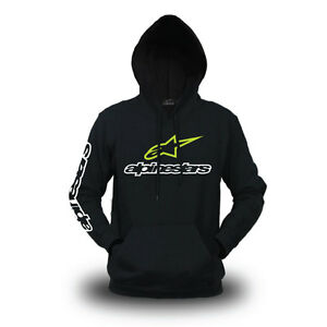 Genuine Alpinestars Extreme BikeRide Freestyle Motocross SBK Black Hooded Hoodie