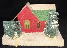 Vintage Red Glitter Putz House With Green Glitter Roof