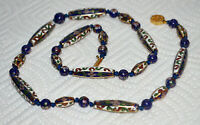 Vintage Chinese Enameled Cloisonne Bead Necklace Floral Blue White
