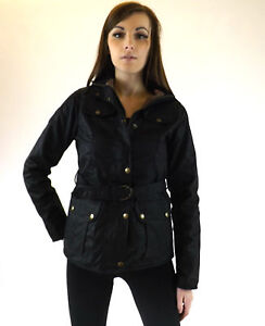 New Wax Jacket Black Fitted Ladies Belted British Cotton Country Walking Outdoor