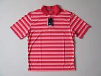 NWT Nike Golf Men's DRI-FIT Tech Vent Polo in Daring Red Hot Lava Stripe Shirt M
