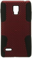 For LG Optimus L9 P769 Hybrid Hard Silicone Rubber Gel Skin Case Red Mesh