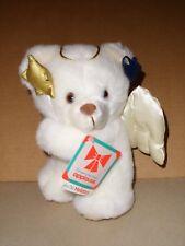 Applause 1987 Vintage White Li'l Angel Teddy Bear Plush Satin Angel Wings NWT
