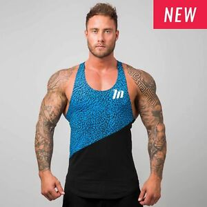Muscle Nation Elephant Print Singlet - BLUE / BLACK