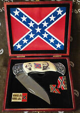 Confederate Generals Folding Pocket Knife and Pin Set w/ Wooden Box