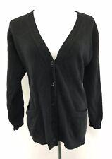 K. O'neil 100% Cashmere Black V-Neck Long Cardigan Sweater SMALL w/ Pockets