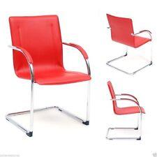 Poltrona ufficio sedia attesa slitta acciaio cromato eco pelle mod. Stand rosso