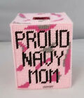 Proud Navy Mom Tissue Box Cover Incl Tissues Plastic Canvas Handmade New