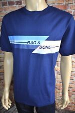 Rag & Bone Glitch Tee Graphic Blue Short Sleeve Shirt Mens T-shirt XL