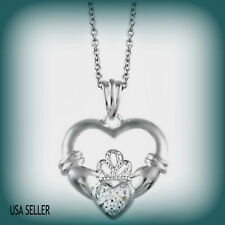 Lovely Diamond Accent Heart Claddagh Irish Celtic Pendant in Sterling Silver