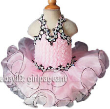 Infant/toddler/baby Pink/Black Lace Crystals Halter Pageant Dress 3T G071